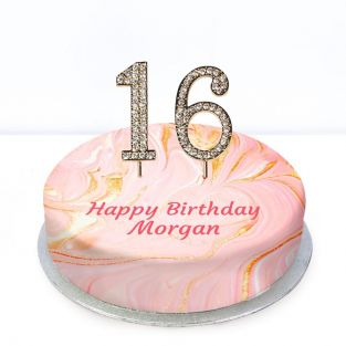 16th Birthday Pink Marble Cake