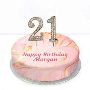 21st Birthday Pink Marble Cake