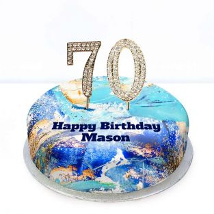 70th Birthday Blue Marble Cake