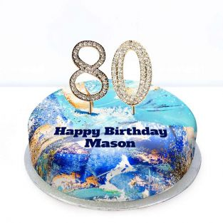 80th Birthday Blue Marble Cake