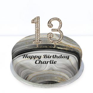 13th Birthday Black Marble Cake