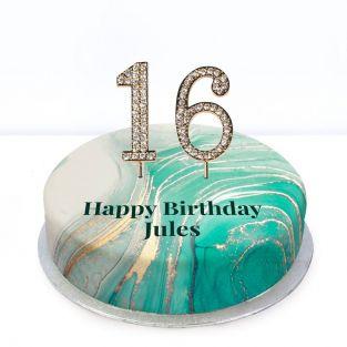 16th Birthday Green Marble Cake
