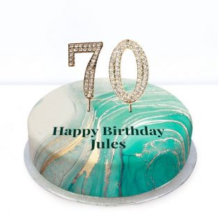 70th Birthday Green Marble Cake