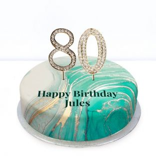 80th Birthday Green Marble Cake