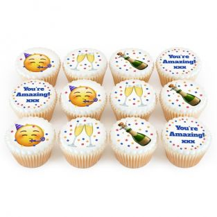 12 Congrats Emoji Cupcakes