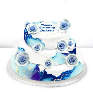 Tiered Blue Flower Cake