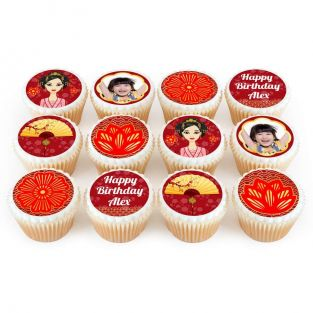 12 Mulan Themed Photo Cupcakes