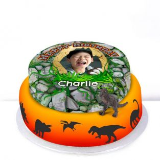 Tiered Dinosaur Photo Cake