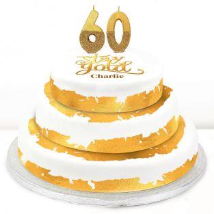 60th Birthday Gold Foil Cake
