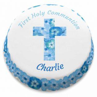 Blue Floral Communion Cake