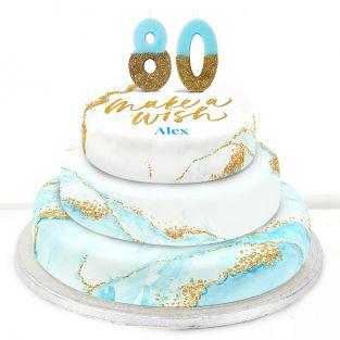80th Birthday Blue Foil Cake