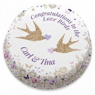 Purple Love Birds Cake