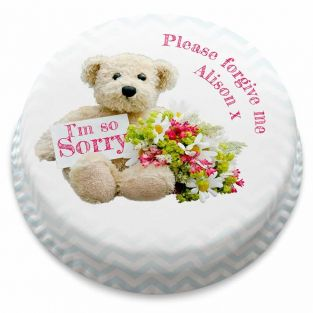 Sorry Bear and Flowers Cake