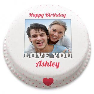Love You Birthday Photo Cake