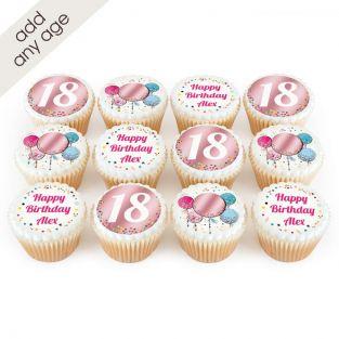 Pink Balloon Age Cupcakes