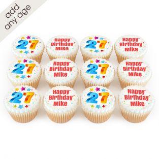 12 Rainbow Number Cupcakes