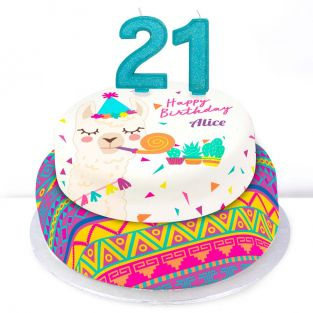 21st Birthday Party Llama Cake