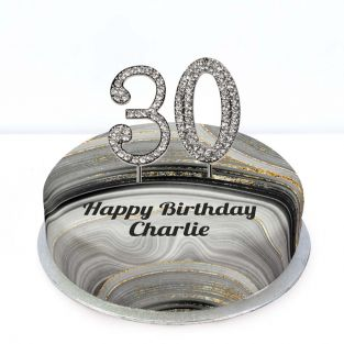 30th Birthday Black Marble Cake