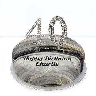 40th Birthday Black Marble Cake
