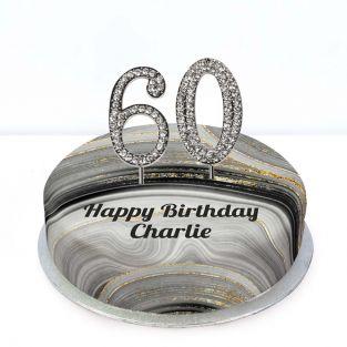 60th Birthday Black Marble Cake