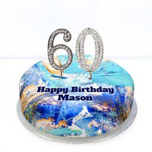 60th Birthday Blue Marble Cake