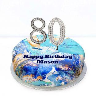 80th Birthday Blue Marble Cake
