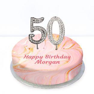 50th Birthday Pink Marble Cake